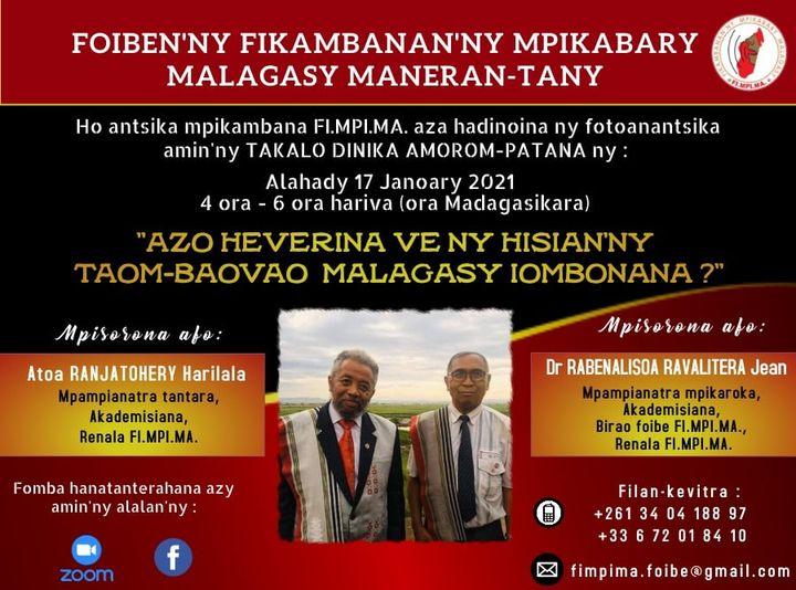 Takalo Dinika Amorom-patana 17 Janoary 2021 @ 4ora – 6ora hariva ( ora Madagasikara)