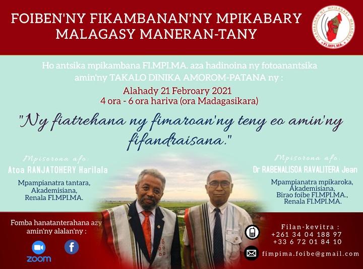 Zoom Takalo dinika Amorom-patana alahady 21 Febroary 2021 @ 4ora – 6ora (ora Madagasikara)