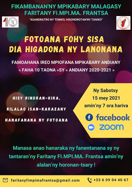 FARITANY FI.MPI.MA. FRANTSA Lanonana sabotsy 15 mey 2021 @ 7 ora hariva