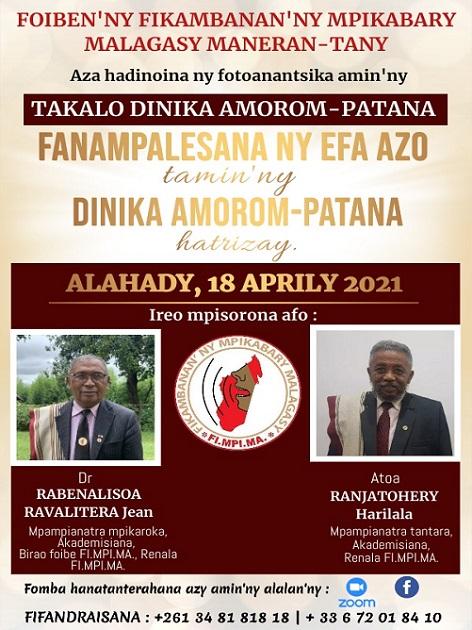 Takalo Dinika Amorom-patana 18 Aprily 2021 @ 4ora – 6ora hariva (Ora Madagasikara)