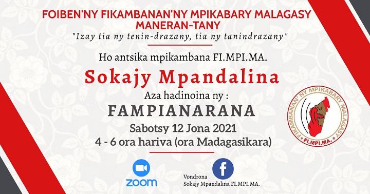 SOKAJY MPANDALINA 12 JONA 2021 amin'ny 4ora – 6ora hariva (Ora Madagasikara)