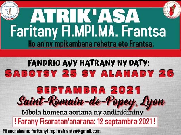 Atrik'asa Faritany FI.MPI.MA. Frantsa sabotsy 25 sy alahady 26 septambra 2021 any Lyon