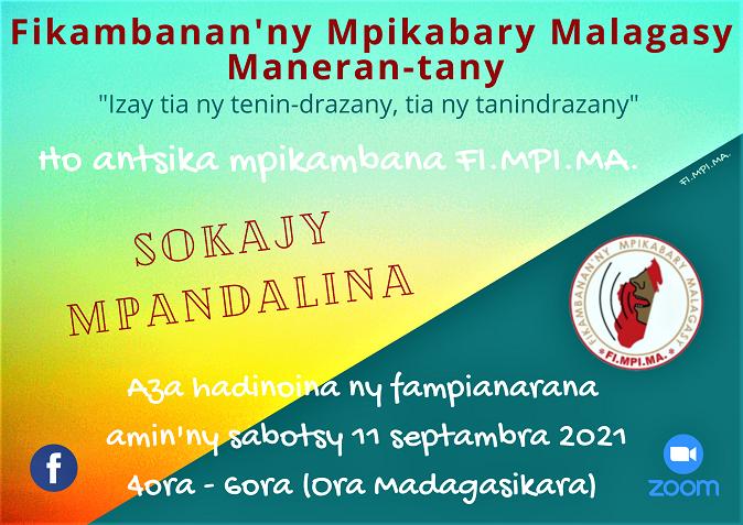 Fampianarana Sokajy Mpandalina sabotsy 11 septembra 2021 @ 4ora – 6ora hariva (Ora Madagasikara)
