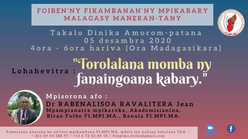 Zoom Takalo Dinika Amorom-patana ny sabotsy 05 DESAMBRA 2020 @ 4ora – 6ora hariva, ora Madagasikara