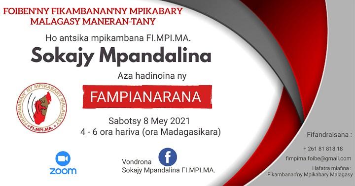 Fampianarana Sokajy Mpandalina sabotsy 08 Mey 2021 @ 4ora – 6ora hariva (Ora Madagasikara)