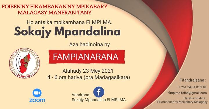 Fampianarana Sokajy Mpandalina alahady 23 mey 2021 @ 4ora – 6ora (Ora Madagasikara)
