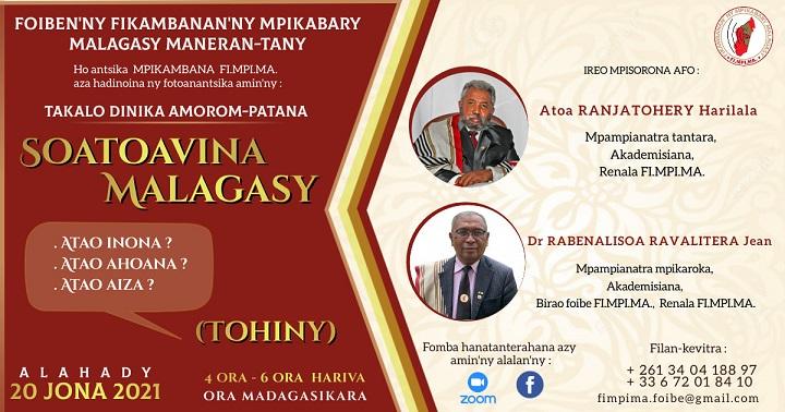 Takalo Dinika Amorom-patana Alahady 20 jona 2021 @ 4ora – 6ora hariva (Ora Madagasikara)